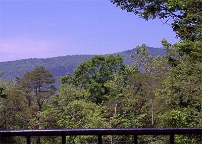 View of Shenandoah National Park from Shenandoah Chalet's deck.